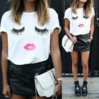 Fashion Women Eyelash Lips Summer Loose Short Sleeve Casual T-Shirt Tops Blouse