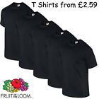 Fruit of the Loom Plain 100% Cotton Blank T Shirts Men's Pack of 5 Black x5 lot