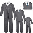 Внешний вид - Baby Toddler Teen Formal Dark Grey Tuxedo 6pc Set Boy Suit Blue Checker Tie S-20