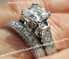 Kyпить 4CT Princess cut Diamond Engagement Ring Wedding Bridal Set Sterling Silver 14k на еВаy.соm
