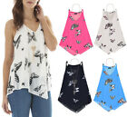 Women Chiffon Tiered Layer Butterfly Vest Ladies Lines Cami Top Blouse Size 8-14