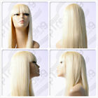 HIGH HEAT RESISTANT TRENDY FRINGE LADY GAGA STYLE WIG SKIN TOP PARTING T-041