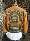 Men's Vintage 1991 Distresses Green/Wheat 100% Leather Bomber Jacket By Avirex