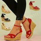 New Womens High Heel Wedges Ladies Platform Ankle Strap Sandal Shoes Size Uk 3-8