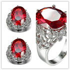 women fashion jewelry  925 silver ruby & white topaz wedding ring size 6-10