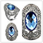 women fashion jewelry  925 silver Sapphire&white topaz wedding ring size 6-10