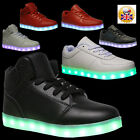 NEW WOMENS MENS HIGH TOP LACE LED LUMINOUS LIGHT USB TRAINERS SPORTS SHOES SIZE