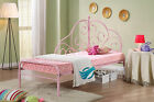 Alice Pink Metal Frame Day Bed Style Kids Princess Girls Cream Single Bedstead