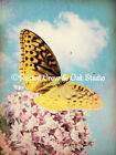 Copper Butterfly on Mauve Flowers Signed Original Handmade Picture Home A244