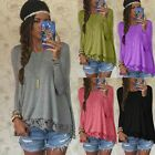 Fashion Women's Long Sleeve LACE Casual Blouse Loose Fashion Cotton Tops T Shirt