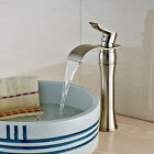 Deck Mount Brushed Nickel Basin Faucet Single Lever Waterfall Spout Vessel Tap