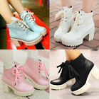 Womens Roman ankle boots chunky heels lace punk creeper block heels plus size