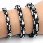 MENs BOYs 5MM 6MM 8MM Silver Black Stainless Steel Byzantine Box Chain Bracelet