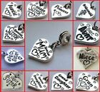 Message heart charm choose dangle silde on clip on for charm bracelet necklace