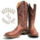 Boulet Men's Square Toe Antique Saddle Full Quill Ostrich Boot 3521