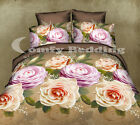 Khaki Roses Bedding Set: Duvet Cover Set or White Comforter or Both, Queen/King