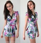 sale PURPLE WATER COLOUR FLORAL PLUDGING NECKLINE PEPLUM TULIP DRESS 6 8