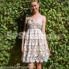 sale Monochrome cream white crochet lace race skater pleated tea DRESS 6 8 10 12