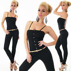 Sexy New Womens Black Trousers Jeans Jumpsuit Overall Playsuit Bandeau Y 032