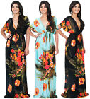 NEW Womens Floral Printed Kimono Styled Sleeve Plus Size Maxi Dress S M L XL 2X