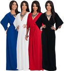NEW Womens Elegant Flutter Sleeve Kaftan Style V-neck Maxi Dress S M L XL 2X