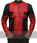 Deadpool Jacket in Red And Black Leather - 100% MONEY BACK GUARANTEE!!!
