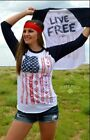 Crazy Train Women's Navy White Live Free 3/4 Sleeve Baseball Tee LiveFree