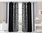 Eyelet Ring top Curtains Damask 3 Tone fully lined Silver