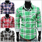 THELEES (CHS3) Casual Mens Stylish Long Sleeve Stripe Patch Checker Shirt 4 COLO
