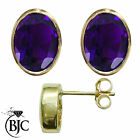 BJC® 9ct Yellow Gold Natural Amethyst Oval Stud Earrings 3.00ct Studs Brand New