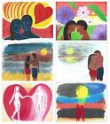 "Hui Art Greeting Cards Love Romance Man & Woman Sunset Artist Paintings 5"" 6.5"""
