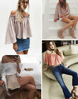 Women Strapless Sexy Off Shoulder Crop Tops Cotton Blouse Long Sleeve Chiffon B2