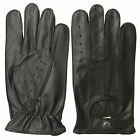 REAL LEATHER MEN'S UNLINED NAPPA DRIVING GLOVES BLACK