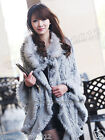 100% Real Knitted Rabbit Fur Poncho Raccoon Collar Cape Stole Wrap Hoody Sweater