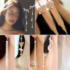 Fashion Long Korean Style Tassel Leaves Crystal Rhinestone Stud Earrings image