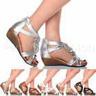 WOMENS LADIES LOW MID WEDGE HEEL FLOWER T-BAR SUMMER EVENING SANDALS SHOES SIZE