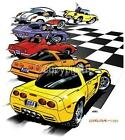 Dave Deal Cartoon Art C1-C5 Corvette Timeline T-shirt #4062 automotive art