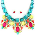 WOW LUSH Statement Gold Crystal Necklace & Earrings 2 colour/com Rocks Boutique