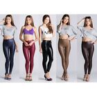 Women Sexy High Waist Leather Shiny Disco Pants Skinny Leggings - Choose Color