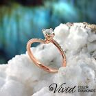 Round Cut Diamond Engagement Ring Size 6 14k Rose Gold 1.4 TCW VS, G-H Enhanced