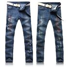 #478 Men's Blue Scrawl Printing Acid washes Stone-washed Long Trousers Jeans
