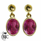 BJC® 9ct Yellow Gold Natural Pink Topaz Oval Single Drop Dangling Studs Earrings
