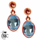 BJC® 9ct Rose Gold Natural Blue Topaz Oval Single Drop Dangling Studs Earrings