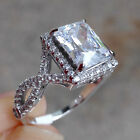 Emerald Cut White CZ 925 Sterling Silver Wedding Band Engagement Ring Size 5-10