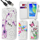 Butterfly Rhinestone Flip Wallet Case Cover for Samsung A3 + USB Data Cable