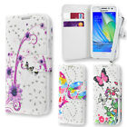 Rhinestone Butterfly Wallet Case Cover for Samsung Galaxy A3 + Stylus Touch Pen