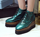 Women's Brogue Wedges Shoes Snakeskin Pattern Pointy Toe Ankle Top Heels Leather