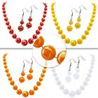 Jewellery Set Pearl Necklace with matching Drop Earrings White Red Orange Yellow