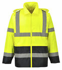 Hi Vis Rain Jacket Reflective Tape Hood Waterproof ANSI, Reflective Coat, UH443