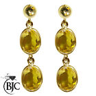 BJC® 9ct Yellow Gold Natural Citrine Oval Double Drop Dangling Studs Earrings